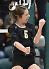 Kaitlyn Steele #5 of Wantagh reacts as her team closes in on a 3-2 victory over Kings Park in the girls volleyball Class A Long Island Championship at Farmingdale State College on Sunday, Nov. 11, 2018. The Warriors rallied from an 0-2 set deficit to win.
