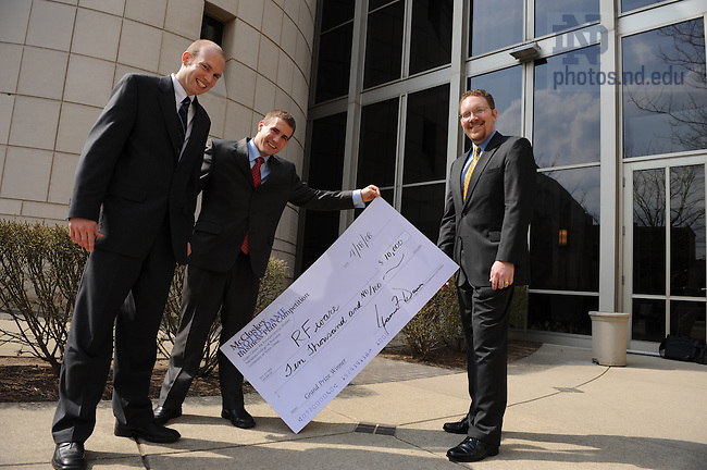 Team RFWare poses with their ceremonial check after winning the McCloskey Business Plan competition, April 18, 2008.