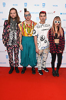 Pop group DNCE - Joe Jonas, Jack Lawless, Cole Whittle &amp; JinJoo Lee - at WE Day 2016 at Wembley Arena, London.<br /> March 9, 2016  London, UK<br /> Picture: Steve Vas / Featureflash