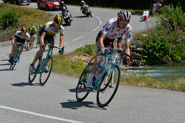 Polka Dot Jersey Romain Bardet (FRA) AG2R in action during Stage 20 of the 2015 Tour de France running 110.5km from Modane Valfrejus to Alpe d'Huez, France. 25th July 2015.<br /> Photo: ASO/B.Bade/Newsfile