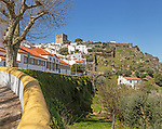 Townscape view of historic buildings and castle on hilltop , village of Castelo de Vide, Alto Alentejo, Portugal, southern Europe