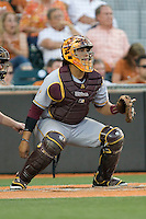 Arizona State Sun Devil catcher Xorge Carrillo #14 on defense against the Texas Longhorns in NCAA Tournament Super Regional Game #3 on June 12, 2011 at Disch Falk Field in Austin, Texas. (Photo by Andrew Woolley / Four Seam Images)