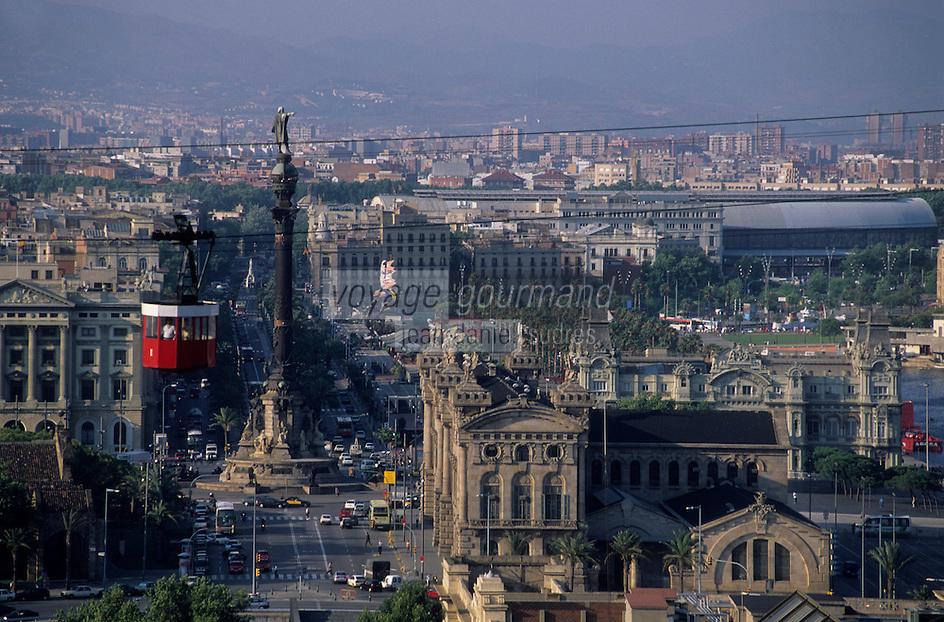 Europe/Espagne/Catalogne/Barcelone : Le port, la colonne de Colomb et le téléphérique depuis le jardin botanique