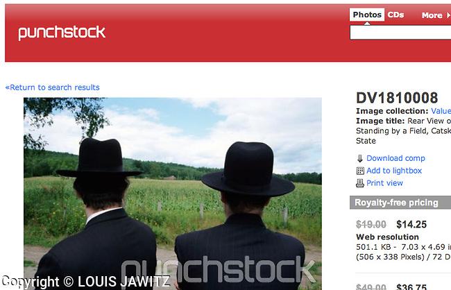 Hasidic jews looking at a field of corn