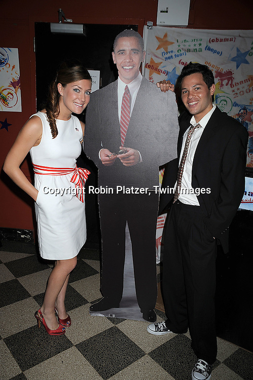 "One Life to Live's BethAnn Bonner, cutout of Barack Obama and One Life to Live's Jason Tam ..at The ""Spare Some Change:NYC Artists for Barack Obama""  fundraiser on August 11, 2008 at The Fifth Floor Theatre at New York University. ....Robin Platzer, Twin Images"