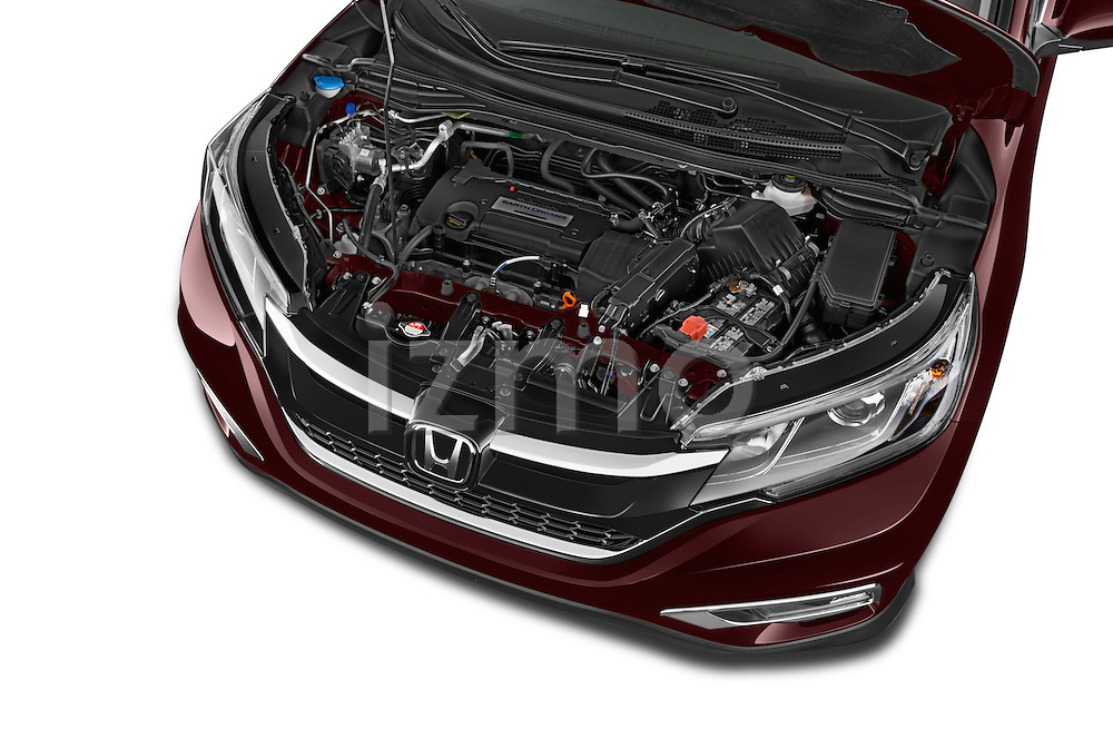 Car Stock 2015 Honda Cr-V Touring 5 Door Suv 2WD Engine high angle detail view