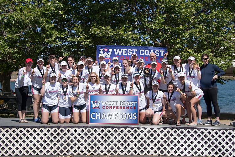May 13, 2017; Gold River, CA, USA; Gonzaga Bulldogs during the WCC Rowing Championships at Lake Natoma.
