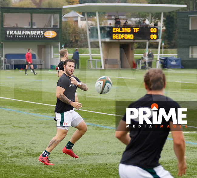 Ealing's Aaron Penberthy passes the ball in the warm up  during the Greene King IPA Championship match between Ealing Trailfinders and Bedford Blues at Castle Bar , West Ealing , England  on 29 October 2016. Photo by Carlton Myrie / PRiME Media