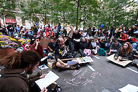 """The """"Occupy Wall Street"""" movement continues to hold peaceful protests against the economic system around Wall Street the demonstrators have called people to """"flood into lower Manhattan, set up tents, peaceful barricades and occupy Wall Street for a few months."""" for the third straight day on Monday in Zuccotti Park New York September 19 , 2011.VP/Kena Betancur"""