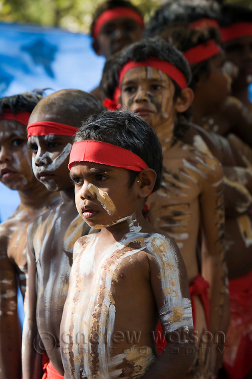 Young indigenous dancers at the Laura Aboriginal Dance Festival.  Laura, Queensland, Australia