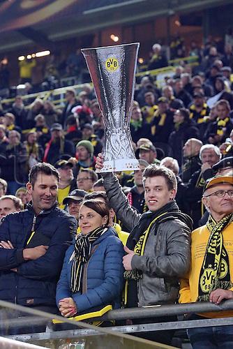07.04.2016. Dortmund, Germany. Europa League quarterfinal. Borussia Dortmund versus Liverpool FC at the Signal Iduna Park Dortmund.  A dortmund supporter with the European Cup replica