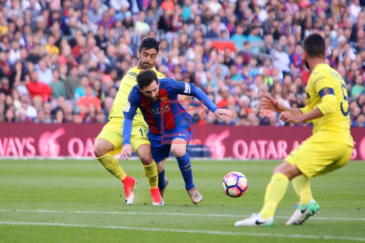 League Santander 2016/2017. Game: 36.<br /> FC Barcelona vs Villarreal CF: 4-1.<br /> J. Costa vs Lionel Messi.