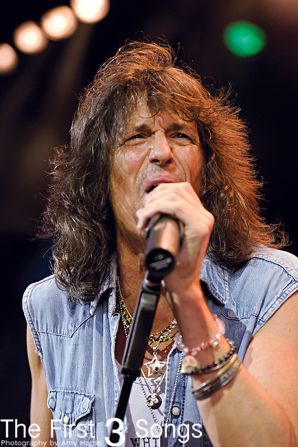 Kelly Hansen of Foreigner performs at Riverbend Music Center in Cincinnati, Ohio on August 3, 2011.
