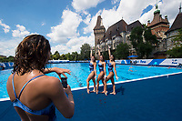 Brazil synchronettes makes pictures after a training session <br /> Synchronised swimming , Synchro<br /> 12/07/2017 <br /> XVII FINA World Championships Aquatics<br /> City Park - Varosliget Lake<br /> Budapest Hungary <br /> Photo Andrea Staccioli/Deepbluemedia/Insidefoto