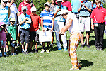 Rickie Fowler chipped his ball onto the 14th green at the 5th Annual Notah Begay III Foundation Challenge at Atunyote Golf Club in Vernon, New York on August 29, 2012