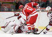 Kyle Richter (Harvard - 33), Zach Cohen (BU - 11) - The Boston University Terriers defeated the Harvard University Crimson 6-5 in overtime on Tuesday, November 24, 2009, at Bright Hockey Center in Cambridge, Massachusetts.