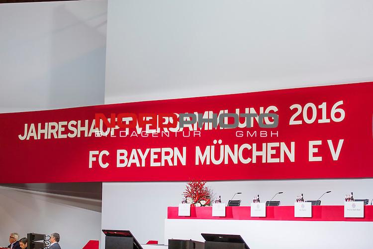25.11.2016, Audi Dome, Muenchen, GER, Feature zur FC Bayern Jahreshauptversammlung 2016, im Bild Schild Jahreshauptversammlung 2016 <br /> <br /> Foto &copy; nordphoto / Straubmeier