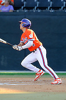 Second baseman Chase Pinder (5) of the Clemson Tigers bats in a game against the Wofford College Terriers on Tuesday, May 5, 2015, at Russell C. King Field in Spartanburg, South Carolina. Wofford won, 17-9. (Tom Priddy/Four Seam Images)