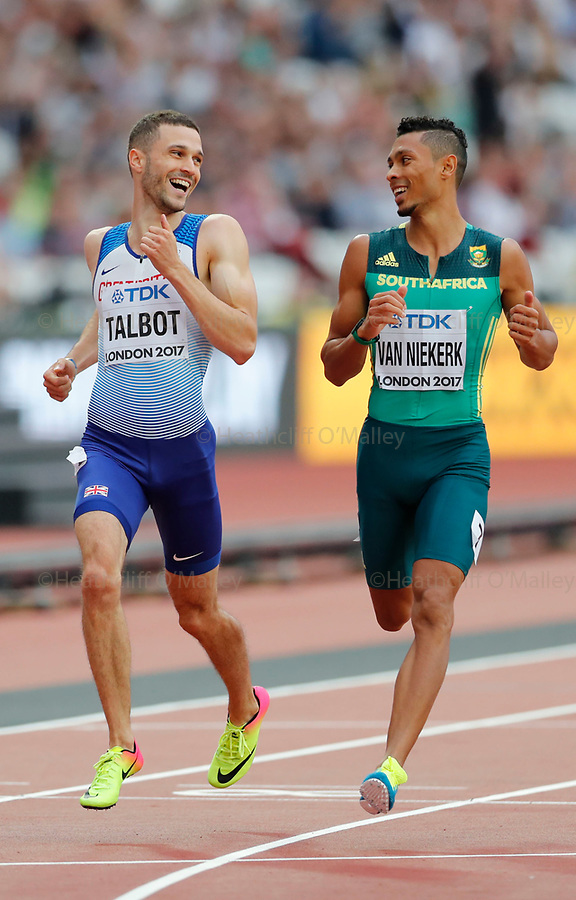Mcc0078114 . Daily Telegraph<br /> <br /> DT Sport<br /> <br /> Daniel Talbot and Wayde van Niekerk in the men's 200m rounds .<br /> <br /> Day 4 of the IAAF World Championships at the London Stadium in Stratford .<br /> <br /> 6 August 2017