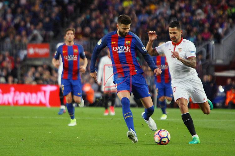 League Santander 2016/2017. Game: 30.<br /> FC Barcelona vs Sevilla FC: 3-0.<br /> Gerard Pique vs Vitolo.