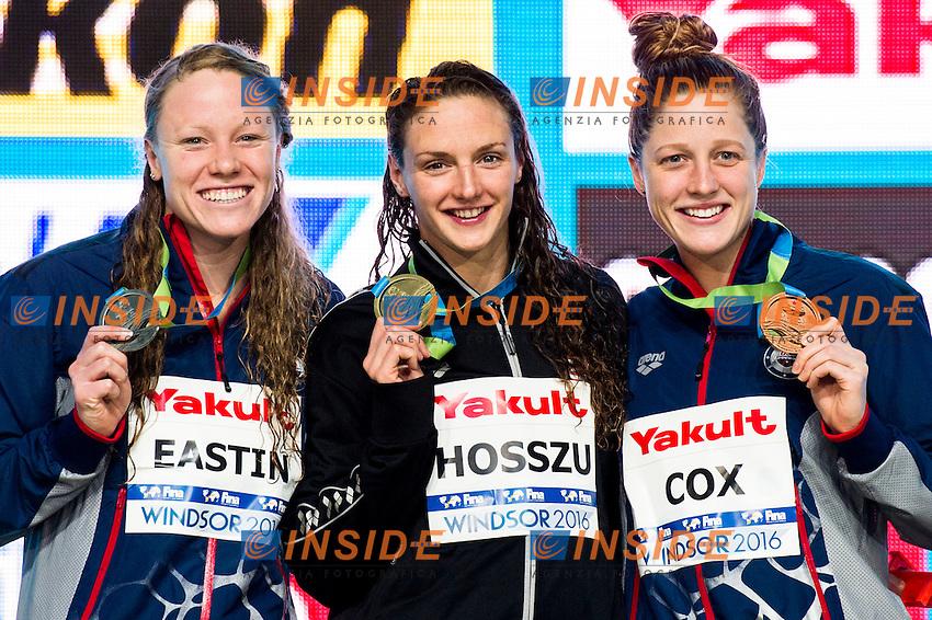 HOSSZU Katinka HUN Gold Medal<br /> EASTIN Ella USA Silver Medal<br /> COX Madisyn USA Bronze Medal<br /> Women's 400m Individual Medley<br /> 13th Fina World Swimming Championships 25m <br /> Windsor  Dec. 6th, 2016 - Day01 Finals<br /> WFCU Centre - Windsor Ontario Canada CAN <br /> 20161206 WFCU Centre - Windsor Ontario Canada CAN <br /> Photo &copy; Giorgio Scala/Deepbluemedia/Insidefoto
