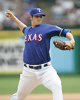 Texas Rangers P Doug Mathis against Seattle on May 14th, 2008 at Texas Rangers Ball Park. Photo by Andrew Woolley .