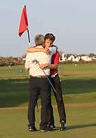 Matthew Jordan (Royal Liverpool) hugs his Dad on the 18th green after winning the Lytham Trophy held at Royal Lytham &amp; St. Annes Golf Club on Sunday 6th May 2018.<br /> Picture:  Thos Caffrey / www.golffile.ie<br /> <br /> All photo usage must carry mandatory copyright credit (&copy; Golffile | Thos Caffrey)