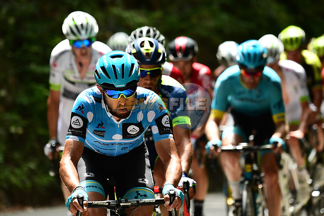 Polka Dot Jersey Dario Cataldo (ITA) Astana Pro Team at the front of the 25 man breakaway group during Stage 6 of the 2018 Criterium du Dauphine 2018 running 110km from Frontenex to La Rosiere, France. 9th June 2018.<br /> Picture: ASO/Alex Broadway | Cyclefile<br /> <br /> <br /> All photos usage must carry mandatory copyright credit (© Cyclefile | ASO/Alex Broadway)