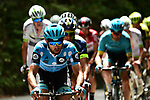Polka Dot Jersey Dario Cataldo (ITA) Astana Pro Team at the front of the 25 man breakaway group during Stage 6 of the 2018 Criterium du Dauphine 2018 running 110km from Frontenex to La Rosiere, France. 9th June 2018.<br /> Picture: ASO/Alex Broadway | Cyclefile<br /> <br /> <br /> All photos usage must carry mandatory copyright credit (&copy; Cyclefile | ASO/Alex Broadway)