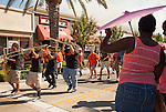 The Pittsburg High School Marching Band parades down Railroad Avenue during the 29th annual Pittsburg Seafood and Music Festival on Sunday, September 8th, 2013 in Pittsburg, California.  Photo/Victoria Sheridan.