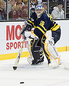 Joe Cannata (Merrimack - 35) - The Merrimack College Warriors defeated the University of New Hampshire Wildcats 4-1 (EN) in their Hockey East Semi-Final on Friday, March 18, 2011, at TD Garden in Boston, Massachusetts.