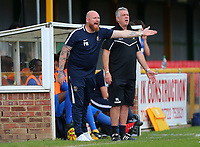Romford manager Paul Martin (L) and assistant Mark Lord during Romford vs Hastings United, FA Trophy Football at Ship Lane on 8th October 2017