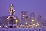Nighttime snowstorm in the Boston Public Garden, Boston, MA, USA