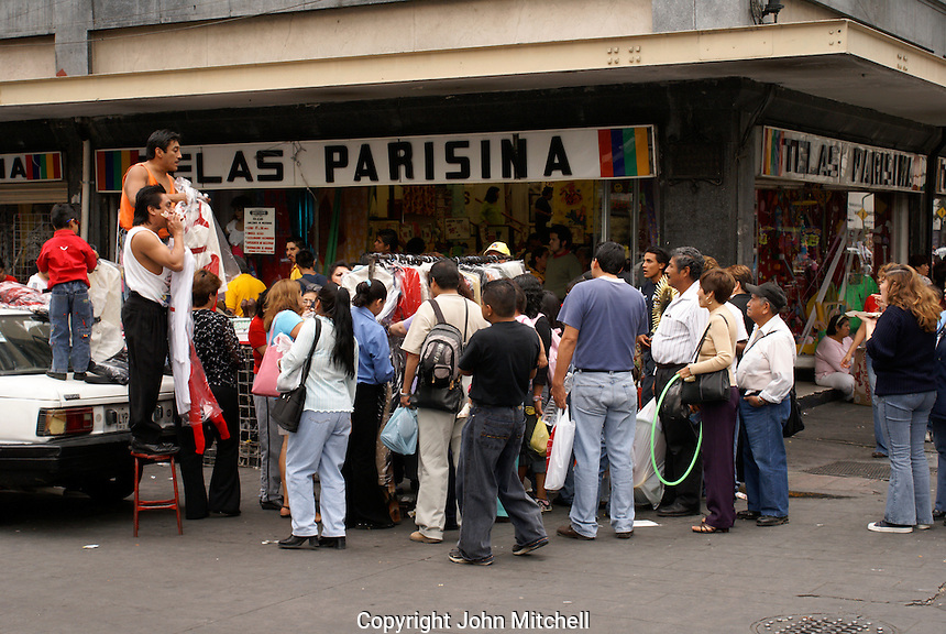 Crowd of shoppers in downtown Mexico City