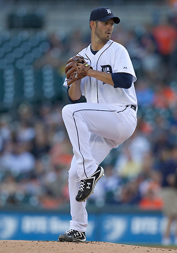 June 01, 2011:  Detroit Tigers starting pitcher Rick Porcello (#48) delivers pitch in game action during MLB game between the Minnesota Twins and the Detroit Tigers at Comerica Park in Detroit, Michigan.  The Tigers defeated the Twins 4-2.
