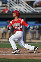 Batavia Muckdogs second baseman Iramis Olivencia (49) at bat during a game against the Jamestown Jammers on July 25, 2014 at Dwyer Stadium in Batavia, New York.  Batavia defeated Jamestown 7-2.  (Mike Janes/Four Seam Images)