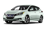 Stock pictures of low aggressive front three quarter view of a 2018 Nissan Leaf SV 5 Door Hatchback