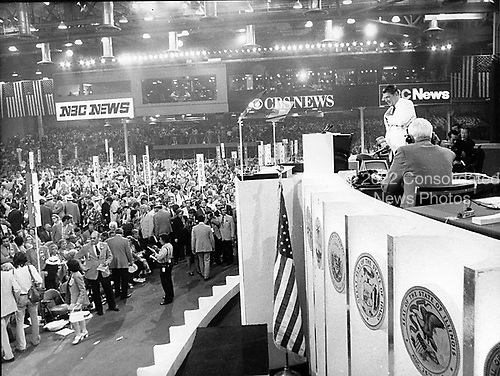 Governor Ronald Reagan (Republican of California) addresses the 1972 Republican National Convention in Miami, Florida, on its opening night, August 22, 1972..