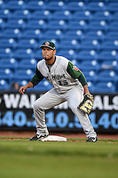 Fort Wayne TinCaps first baseman Fernando Perez (13) waits for a throw during a game against the Lake County Captains on August 21, 2014 at Classic Park in Eastlake, Ohio.  Lake County defeated Fort Wayne 7-8.  (Mike Janes/Four Seam Images)