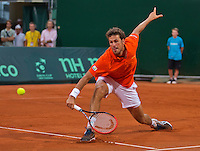 Austria, Kitzbühel, Juli 17, 2015, Tennis, Davis Cup, Second match between Robin Haase (NED and Andreas Haider-Maurer (AUT), pictured : Robin Haase<br /> Photo: Tennisimages/Henk Koster
