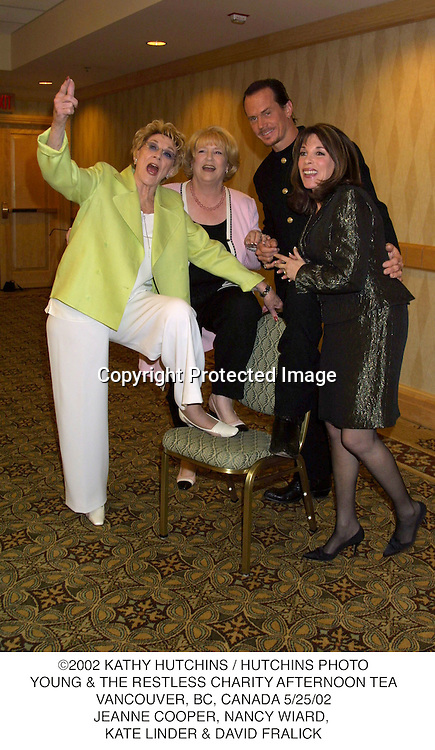 ©2002 KATHY HUTCHINS / HUTCHINS PHOTO.YOUNG & THE RESTLESS CHARITY AFTERNOON TEA.VANCOUVER, BC, CANADA 5/25/02.JEANNE COOPER, NANCY WIARD, .KATE LINDER & DAVID FRALICK
