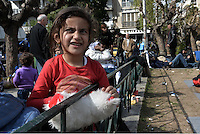Pictured: A young migrant girl Friday 26 February 2016<br /> Re: Hundreds of refugees have temporarily camped at Victoria Square in central Athens, Greece.