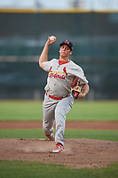 Johnson City Cardinals starting pitcher Michael Brettell (26) delivers a pitch during the second game of a doubleheader against the Princeton Rays on August 17, 2018 at Hunnicutt Field in Princeton, Virginia.  Princeton defeated Johnson City 12-1.  (Mike Janes/Four Seam Images)