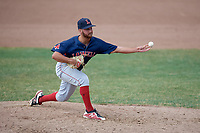 Lowell Spinners relief pitcher Tanner Raiburn (32) delivers a pitch during a game against the Batavia Muckdogs on July 15, 2018 at Dwyer Stadium in Batavia, New York.  Lowell defeated Batavia 6-2.  (Mike Janes/Four Seam Images)