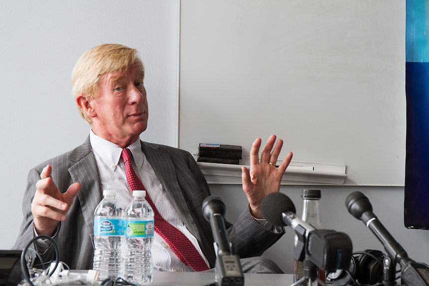 Bill Weld, Libertarian candidate for VP and former MA governor, speaks with students and the media about his candidacy.