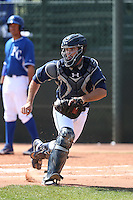 Austin Hedges of the San Diego Padres during a Minor League Spring Training Game against the Kansas City Royals at the Kansas City Royals Spring Training Complex on March 26, 2014 in Surprise, Arizona. (Larry Goren/Four Seam Images)