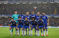 Chelsea line up for a team photo during the UEFA Champions League group G match between Chelsea and FC Porto at Stamford Bridge, London, England on 9 December 2015. Photo by Andy Rowland.