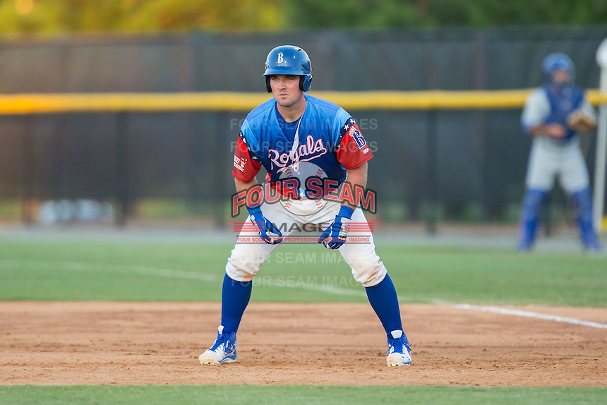 Zane Evans (17) of the Burlington Royals takes his lead off of first base against the Bluefield Blue Jays at Burlington Athletic Stadium on June 26, 2016 in Burlington, North Carolina.  The Blue Jays defeated the Royals 4-3.  (Brian Westerholt/Four Seam Images)