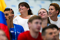 Picture by Rogan Thomson/SWpix.com - 17/07/2017 - Diving - Fina World Championships 2017 -  Duna Arena, Budapest, Hungary - Tom Daley's mum Debbie and husband Dustin Lance Black cheer on Great Britain during the Men's 10m Synchro Platform Preliminary.