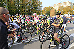 Riders line up before the start of the 112th edition of Il Lombardia 2018, the final monument of the season running 241km from Bergamo to Como, Lombardy, Italy. 13th October 2018.<br /> Picture: Eoin Clarke | Cyclefile<br /> <br /> <br /> All photos usage must carry mandatory copyright credit (© Cyclefile | Eoin Clarke)
